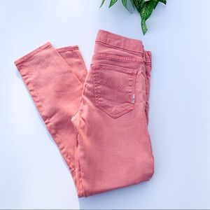 MOTHER coral low-rise cropped skinny jean